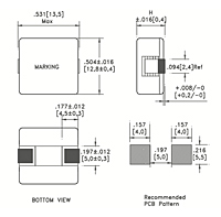 Dimensional Drawing for PSB12 Series Surface Mount Technology (SMT) Flat Wire High Current Fixed Inductors
